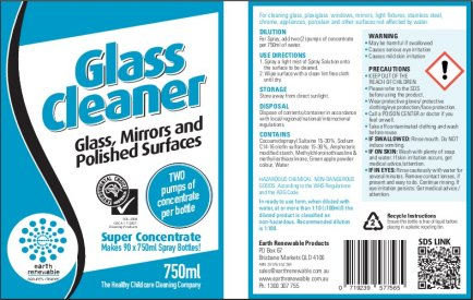 Glass Cleaner Label Earth Renewable