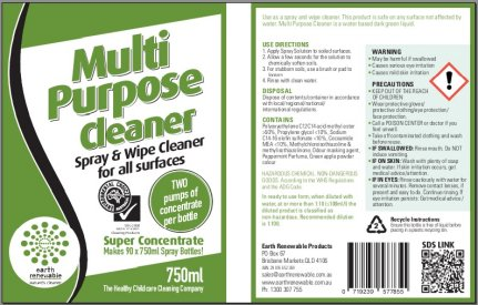 Glass Cleaner Spray Bottle Label X 5 Earth Renewable